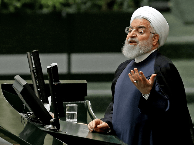 Iran's President Hassan Rouhani addresses parliament in the capital Tehran on September 3, 2019. - In an address to parliament, Rouhani ruled out holding any bilateral talks with the United States, saying the Islamic republic is opposed to such negotiations in principle. He also said Iran was ready to further …