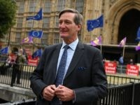 British Conservative party politician Dominic Grieve speaks to members of the media on College Green, near the Houses of Parliament in London on September 3, 2019. - British Prime Minister Boris Johnson will call an election for October 14 if MPs vote against his Brexit strategy, a top official said …