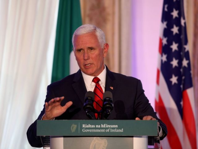 US Vice President Mike Pence speaks to members of the media after holding talks with Irish Prime Minister Leo Varadkar at Famleigh House in Phoenix Park, Dublin, on September 3, 2019, on day two of the US Vice President's visit to Ireland. (Photo by PAUL FAITH / AFP) (Photo credit …