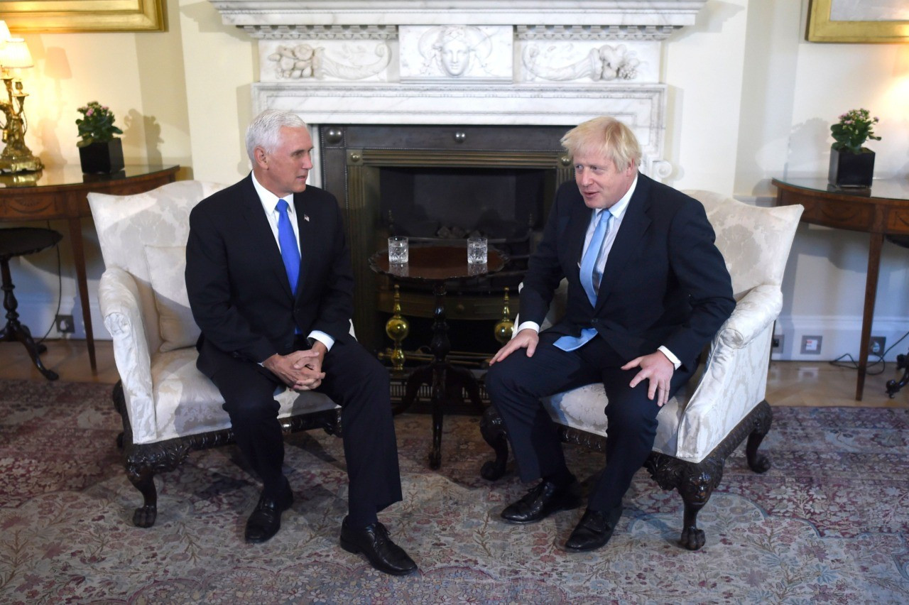 Britain's Prime Minister Boris Johnson (R) holds a meeting with US Vice-President Mike Pence (L) inside 10 Downing Street in central London on September 5, 2019. (Photo by Peter SUMMERS / POOL / AFP) (Photo credit should read PETER SUMMERS/AFP/Getty Images)