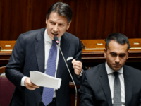 Italy's Prime Minister Giuseppe Conte (L) delivers a speech as Italy's Foreign Minister Luigi Di Maio looks on during the new government confidence vote on September 9, 2019 at the lower house of parliament in Rome. (Photo by Andreas SOLARO / AFP) (Photo credit should read ANDREAS SOLARO/AFP/Getty Images)