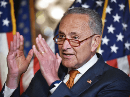Senate Minority Leader Chuck Schumer, D-NY, speaks during a press conference to demand a vote for the House-passed bipartisan Background Checks Act, at the US Capitol in Washington, DC on September 9, 2019. (Photo by MANDEL NGAN / AFP) (Photo credit should read MANDEL NGAN/AFP/Getty Images)