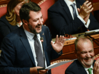 Head of the far-right Northern League (Lega Nord) party, current Italian Senator and former Interior Minister Matteo Salvini gestures as he speaks on September 10, 2019 during the new government's confidence vote at the Senate in Rome. - Italian Prime Minister Giuseppe Conte called on September 9 for the reform …