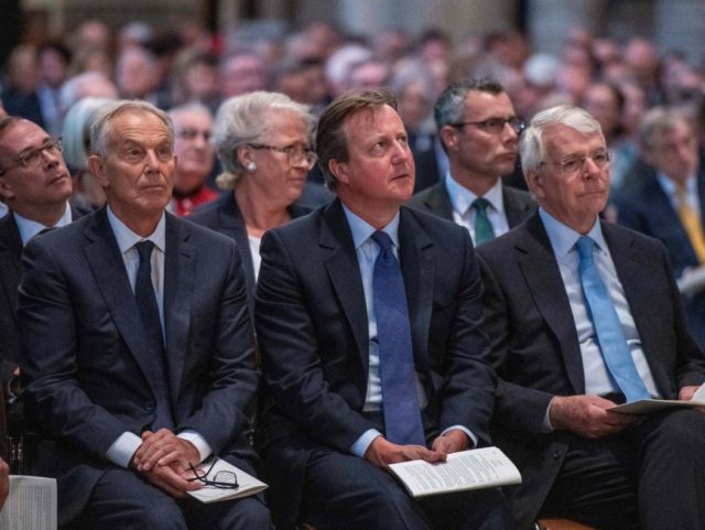 (L-R) Former Prime Ministers Tony Blair, David Cameron and John Major attend a Service of Thanksgiving for the life and work of Paddy Ashdown, former leader of the Liberal Democrats at Westminster Abbey in central London on September 10, 2019. (Photo by Chris J Ratcliffe / POOL / AFP) (Photo …