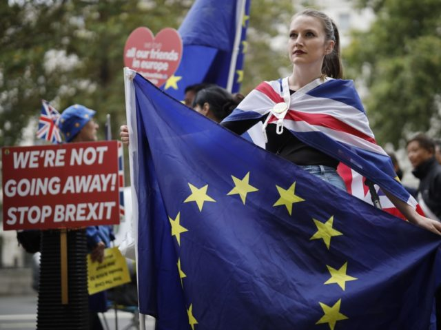 Anti-Brexit activists, and demonstrators opposing the British government's actions in relation to the handling of Brexit, protest near Downing Street in central London on September 10, 2019. - Beleaguered British Prime Minister Boris Johnson vowed to continue with his attempts to strike a new Brexit deal with Brussels, after losing …