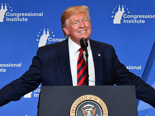TOPSHOT - US President Donald Trump delivers remarks during the 2019 House Republican Conference Member Retreat Dinner in Baltimore, Maryland on September 12, 2019. (Photo by Nicholas Kamm / AFP) (Photo credit should read NICHOLAS KAMM/AFP/Getty Images)