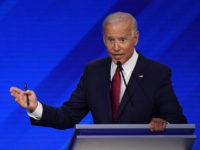 Democratic presidential hopefuls Vermont Senator Bernie Sanders (L) and Former Vice President Joe Biden participate in the third Democratic primary debate of the 2020 presidential campaign season hosted by ABC News in partnership with Univision at Texas Southern University in Houston, Texas on September 12, 2019. (Photo by Robyn BECK …