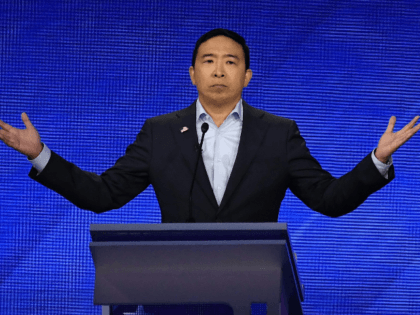 Democratic presidential hopeful Tech entrepreneur Andrew Yang speaks during the third Democratic primary debate of the 2020 presidential campaign season hosted by ABC News in partnership with Univision at Texas Southern University in Houston, Texas on September 12, 2019. (Photo by Robyn BECK / AFP) (Photo credit should read ROBYN …