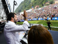 Italian senator, head of the Italian far-right League (Lega) party Matteo Salvini delivers a speech on stage during the party's annual rally in Pontida on September 15, 2019. (Photo by Miguel MEDINA / AFP) (Photo credit should read MIGUEL MEDINA/AFP/Getty Images)