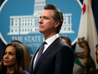 SACRAMENTO, CALIFORNIA - AUGUST 16: California Gov. Gavin Newsom looks on during a news conference with California attorney General Xavier Becerra at the California State Capitol on August 16, 2019 in Sacramento, California. California attorney genera Xavier Becerra and California Gov. Gavin Newsom announced that the State of California is …
