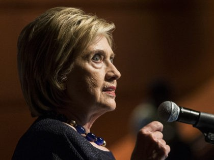 WASHINGTON, DC - SEPTEMBER 17: Former Secretary of State Hillary Clinton delivers a keynote speech during the American Federation of Teachers Shanker Institute Defense of Democracy Forum at George Washington University on September 17, 2019 in Washington, DC. The forum examines challenges to democratic institutions and focused on civic engagement, …