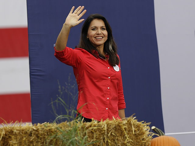 DES MOINES, IA - SEPTEMBER 21: Democratic presidential candidate and Hawaii Congresswoman Tulsi Gabbard waves as she takes the stage during the Democratic Polk County Steak Fry on September 21, 2019 in Des Moines, Iowa. Seventeen presidential candidates attended the Polk County Steak Fry. (Photo by Joshua Lott/Getty Images)