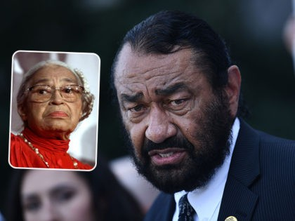 (INSET: Rosa Parks) Rep. Al Green (D-TX) watches as activists ask for impeachment as they gather on Capitol Hill on September 23, 2019 in Washington,DC. - The demonstration and press event was to demand the House of Representatives to take urgent and immediate action towards impeaching US President Donald Trump. …