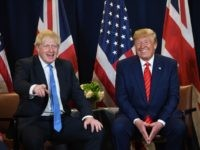 US President Donald Trump and British Prime Minister Boris Johnson hold a meeting at UN Headquarters in New York, September 24, 2019, on the sidelines of the United Nations General Assembly. (Photo by SAUL LOEB / AFP) (Photo credit should read SAUL LOEB/AFP/Getty Images)