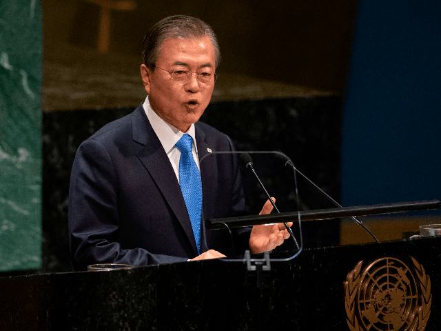 Moon Jae-in, President of South Korea speaks during the United Nations General Assembly on September 24, 2019 at the United Nations Headquarters in New York City. (Photo by Don Emmert / AFP) (Photo credit should read DON EMMERT/AFP/Getty Images)