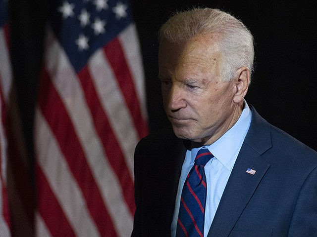 WILMINGTON, DE - SEPTEMBER 24: Democratic candidate for president, former Vice President Joe Biden exits after making remarks about the DNI Whistleblower Report as well as President Trumps ongoing abuse of power at the Hotel DuPont on September 24, 2019 in Wilmington, Delaware. (Photo by William Thomas Cain/Getty Images)