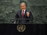 Colombian President Iván Duque Márquez speaks during the 74th Session of the General Assembly at the United Nations headquarters in New York on September 25, 2019. (Photo by TIMOTHY A. CLARY / AFP) (Photo credit should read TIMOTHY A. CLARY/AFP/Getty Images)