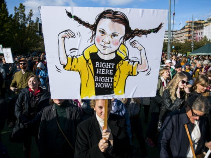"An activist holds up placard depicting the 16-year-old Swedish climate activist Greta Thunberg during ""Fridays for future"" demonstration, a worldwide climate strike against governmental inaction towards climate breakdown and environmental pollution in Stockholm on September 27, 2019. (Photo by Jonathan NACKSTRAND / AFP) (Photo credit should read JONATHAN NACKSTRAND/AFP/Getty Images)"