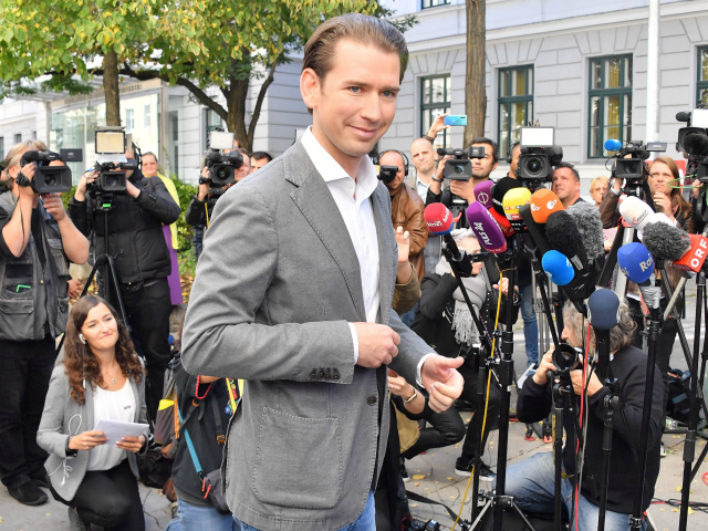 Sebastian Kurz, leader of Austria's People's party (OeVP) leaves after voting during snap elections in Vienna, Austria, on September 29, 2019. - Austria holds snap elections after a corruption scandal caused the dramatic collapse of the previous right-wing coalition government. (Photo by JOE KLAMAR / AFP) (Photo credit should read …