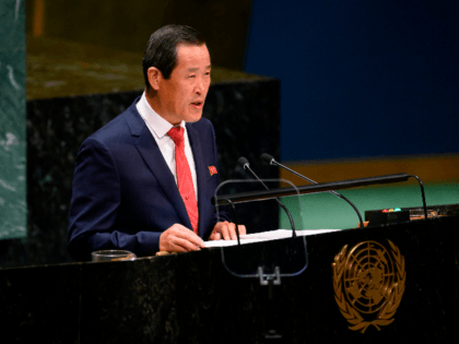 Chair of the delegation of North Korea, Kim Song speaks during General debate of the 74th session of the UN General Assembly on September 30, 2019 at the United Nations Headquarters in New York City. (Photo by Don Emmert / AFP) (Photo credit should read DON EMMERT/AFP/Getty Images)