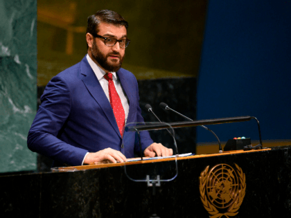 Hamdullah Mohib, Afghanistan's National Security Adviser speaks during the General debate of the 74th session of the UN General Assembly on September 30, 2019 at the United Nations Headquarters in New York City. (Photo by Don Emmert / AFP) (Photo credit should read DON EMMERT/AFP/Getty Images)