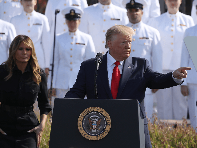 U.S. President Donald Trump speaks during a 911 memorial ceremony at the Pentagon to commemorate the anniversary of the 9/11 terror attacks September 11, 2019 in Arlington, Virginia. The nation is marking the 18th anniversary of the terror attacks that took almost 3000 lives. (Photo by Mark Wilson/Getty Images)