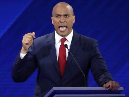 HOUSTON, TEXAS - SEPTEMBER 12: Democratic presidential candidate Sen. Cory Booker (D-NJ) speaks during the Democratic Presidential Debate at Texas Southern University's Health and PE Center on September 12, 2019 in Houston, Texas. Ten Democratic presidential hopefuls were chosen from the larger field of candidates to participate in the debate …