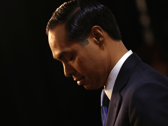 Democratic presidential candidate former housing secretary Julian Castro looks on in the spin room after the Democratic Presidential Debate at Texas Southern University on September 12, 2019 in Houston, Texas. Ten Democratic presidential hopefuls were chosen from the larger field of candidates to participate in the debate hosted by ABC …