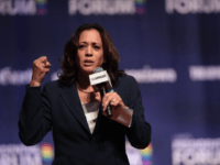 Democratic presidential candidate and California senator Kamala Harris speaks at an LGBTQ presidential forum at Coe College's Sinclair Auditorium on September 20, 2019 in Cedar Rapids, Iowa. The event is the first public event of the 2020 election cycle to focus entirely on LGBTQ issues. (Photo by Scott Olson/Getty Images) …