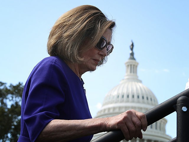 WASHINGTON, DC - SEPTEMBER 24: U.S. House Speaker Nancy Pelosi (D-CA) waits to speak at a labor rally held by the AFL-CIO for government employees outside the U.S. Capitol September 24, 2019 in Washington, DC. Pelosi is scheduled to meet with various House Democratic groups later this afternoon to discuss …