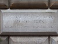 NEW YORK, NY - JULY 29: A cornerstone in the Federal Reserve Bank of New York building is seen on July 29, 2011 in New York City. Bankers and economists were invited to meet with Treasury Department officials at the bank today to discuss the on-going debt-limit crisis and how …