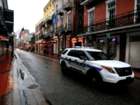 New Orleans Police patrol the French Quarter as winter weather threatens the metro area on January 28, 2014 in New Orleans, Louisiana. Due to icy conditions, many businesses and schools are closed in the metro area through Thursday. (Photo by Sean Gardner/Getty Images)