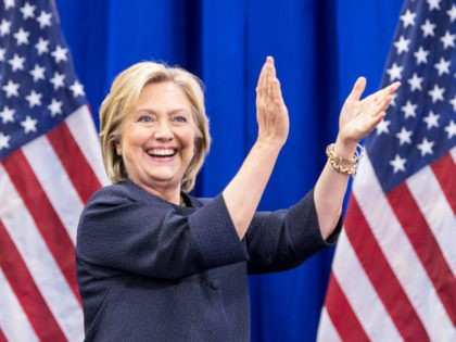 MANCHESTER, NH - SEPTEMBER 19: Democratic presidential candidate Hillary Clinton claps on stage during the New Hampshire Democratic Party Convention at the Verizon Wireless Center on September 19, 2015 in Manchester, New Hampshire. Challenger for the democratic vote Sen. Bernie Sanders (I-VT) has been gaining ground on Clinton in Iowa …