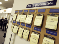 A job listing board hangs at the East Bay Career Center February 2, 2006 in Oakland, California. According to a government report, U.S. unemployment benefits claims dropped to about 273,000 last week, sending a four-week average of claims to the lowest level in nearly six years. (Photo by Justin Sullivan/Getty …