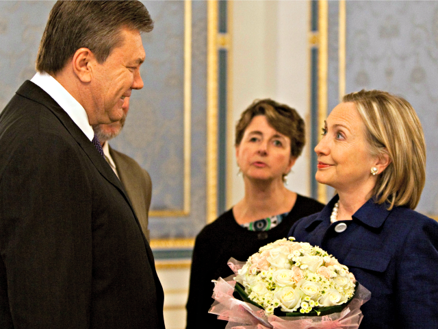 US ecretary of State Hillary Rodham Clinton smiles with Ukraine President Viktor Yanukovych prior to a joint press availability at the Presidential Administration Building in Kiev, Ukraine, Friday, July 2, 2010. Clinton is in Ukraine, the first leg of a trip which is due to take her also to Poland …