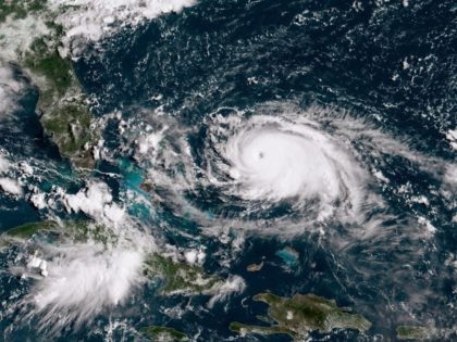 ATLANTIC OCEAN - AUGUST 31: In this NOAA GOES-East satellite handout image, Hurricane Dorian, now a Cat. 4 storm, tracks towards the Florida coast taken at 13:40Z August 31, 2019 in the Atlantic Ocean. A hurricane warning is in effect for the northwestern Bahamas, where Dorian will arrive Sunday. According …