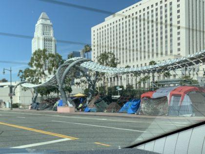 Los Angeles homeless (Joel Pollak / Breitbart News)