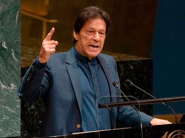 "Pakistani Prime Minister Imran Khan speaks during the 74th Session of the General Assembly at UN Headquarters in New York on September 27, 2019. - India is planning a ""bloodbath"" in Kashmir, Khan told the UNGeneral Assembly. The Indian-controlled part of the disputed territory has been under lockdown since New …"