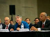"NEW YORK, NY - SEPTEMBER 9: (L-R) Former U.S. secretaries of the Department of Homeland Security Michael Chertoff, Janet A. Napolitano, and Jeh Johnson testify during a special Senate Committee on Homeland Security and Governmental affairs hearing on ""The State of Homeland Security after 9/11"" at the National September 11th …"