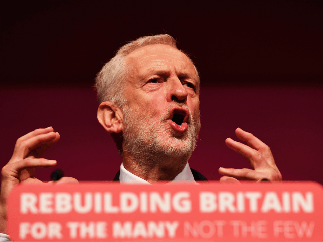 "LIVERPOOL, ENGLAND - SEPTEMBER 26: Labour Party leader, Jeremy Corbyn addresses delegates on day four of the Labour Party conference at the Arena and Convention Centre on September 26, 2018 in Liverpool, England. In his closing speech to the conference the Labour leader will promise to ""kickstart a green jobs …"