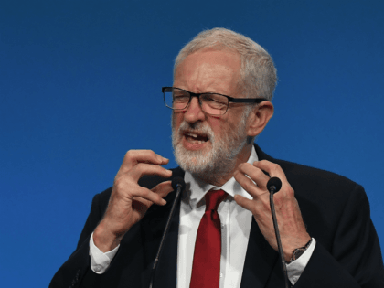 Jeremy Corbyn, opposition Labour party leader speaks during the Trades Union (TUC) Congress in Brighton, southern England on September 10, 2019. (Photo by Ben STANSALL / AFP) (Photo credit should read BEN STANSALL/AFP/Getty Images)