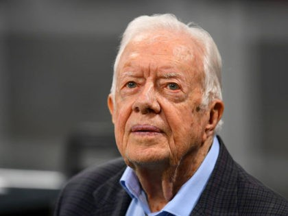 ATLANTA, GA - SEPTEMBER 30: Former president Jimmy Carter prior to the game between the Atlanta Falcons and the Cincinnati Bengals at Mercedes-Benz Stadium on September 30, 2018 in Atlanta, Georgia. (Photo by Scott Cunningham/Getty Images)