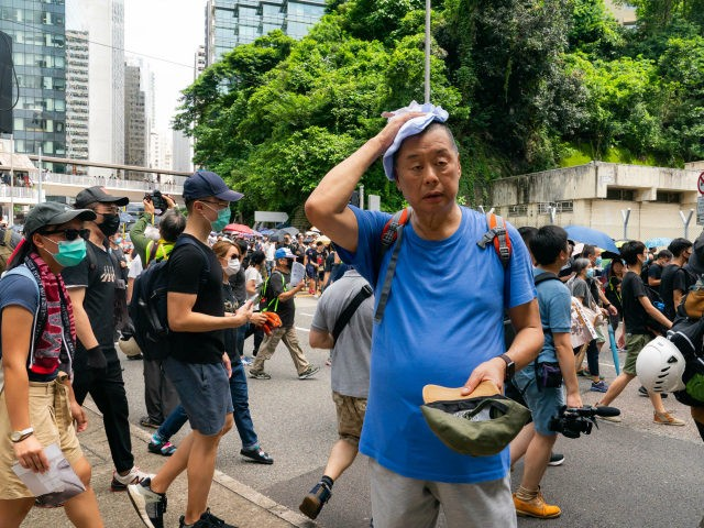 The media tycoon Jimmy Lai, attends a pro-democracy protesters march in Admiralty on August 31, 2019 in Hong Kong, China. Pro-democracy protesters have continued demonstrations across Hong Kong since 9 June against a controversial bill which allows extraditions to mainland China as the ongoing protests surpassed the Umbrella Movement five …