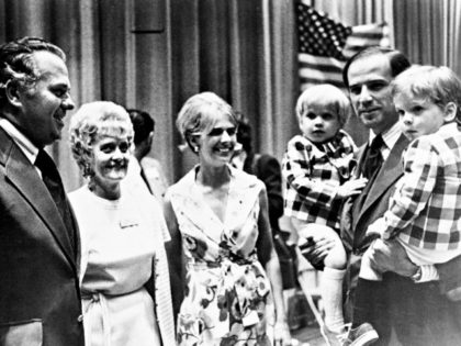 Democratic state convention At center is his wife Neilia Biden, who was killed in an auto crash, Dec. 20, 1972. With them are Gov.-elect Sherman W. Tribbitt and his wife, Jeanne. (AP Photo)
