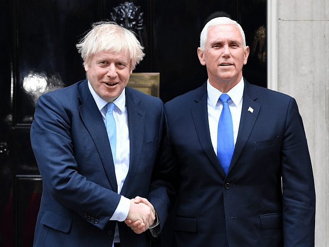 Britain's Prime Minister Boris Johnson (L) greets US Vice-President Mike Pence (R) outside 10 Downing Street in central London on September 5, 2019. (Photo by DANIEL LEAL-OLIVAS / AFP) (Photo credit should read DANIEL LEAL-OLIVAS/AFP/Getty Images)