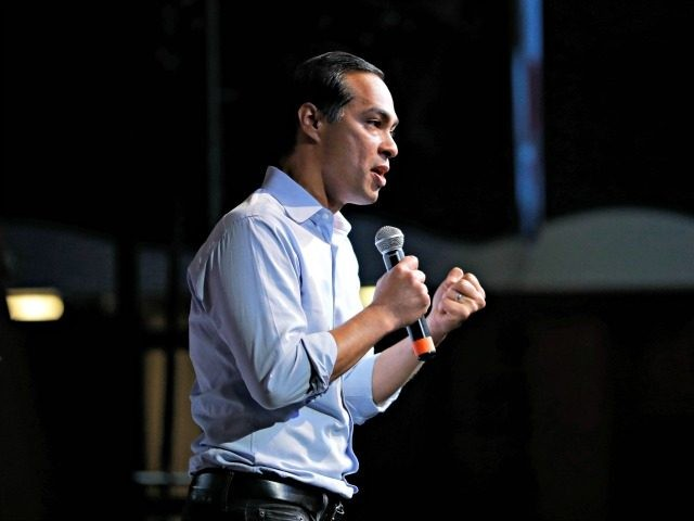 Former Housing and Urban Development Secretary and Democratic presidential candidate Julian Castro speaks at the Iowa Democratic Wing Ding at the Surf Ballroom, Friday, Aug. 9, 2019, in Clear Lake, Iowa. (AP Photo/John Locher)