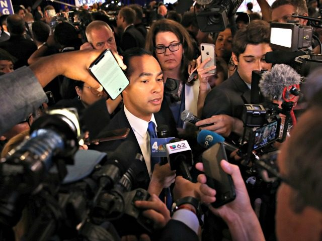 HOUSTON, TEXAS - SEPTEMBER 12: Democratic presidential candidate former housing secretary Julian Castro is interviewed by the media in the spin room after the Democratic Presidential Debate at Texas Southern University on September 12, 2019 in Houston, Texas. Ten Democratic presidential hopefuls were chosen from the larger field of candidates …