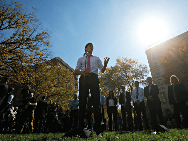 WINNIPEG, MB - SEPTEMBER 19: Canadian Prime Minister Justin Trudeau addresses the media regarding photos and video that have surfaced in which he is wearing dark makeup on September 19, 2019 in Winnipeg, Canada. Three separate incidents came to light yesterday where Trudeau was wearing dark makeup as part of …