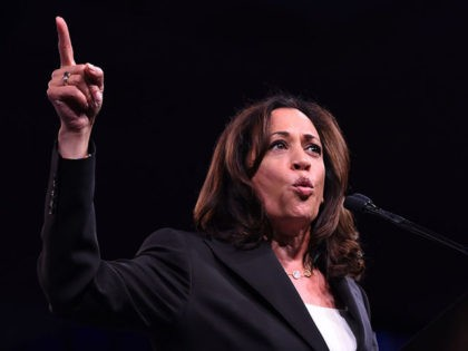 2020 US Democratic Presidential hopeful US Senator for California Kamala Harris speaks on-stage during the Democratic National Committee's summer meeting in San Francisco, California on August 23, 2019. (Photo by JOSH EDELSON / AFP) (Photo credit should read JOSH EDELSON/AFP/Getty Images)