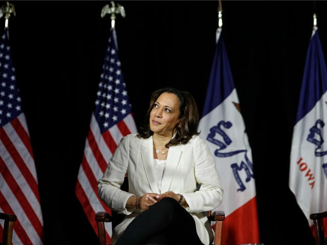 Democratic presidential candidate Sen. Kamala Harris, D-Calif., attends a campaign event Monday, Aug. 12, 2019, in Burlington, Iowa. (AP Photo/John Locher)